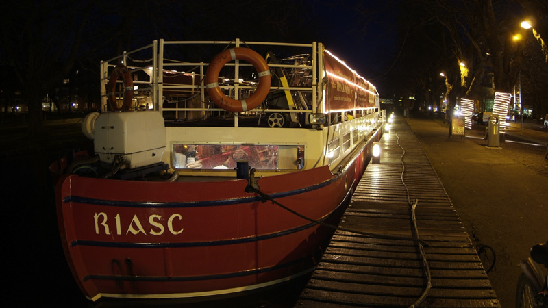 MV Riasc moored at night
